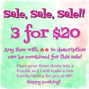 🔥 3 for $20 Sale!! Limited Time Only!! 🔥
